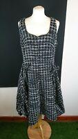 A R T Gothic Dutch Inspired Black White Rockabilly Tweed Effect 50s Sz 10L Dress