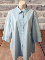 Chico's Women's Blouse Size XL or 3 3/4 Sleeve Striped Button Down Shirt