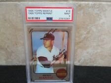 1996 Mickey Mantle Topps (1968) Topps #18 Foil Reprint w/coating  PSA 9 Mint.
