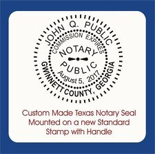 Texas Notary Round Seal-Custom Made, Standard Stamp with handle