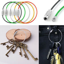 5PC Multifunctional Stainless Steel Wire Rope Keychain Cable Screw Clasp Keyring