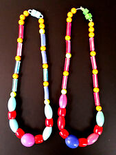 Vintage Lot of 2 - 1960s Hong Kong Plastic Mardi Gras 16 in. Bead NECKLACES EUC!