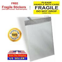 White Poly Mailer Self Sealing Shipping Bags Plastic Mailing + Fragile Stickers