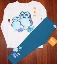 NEW NWT Gymboree Mix N Match Owl Ruffle Top & Flower Leggings Size 2 2T