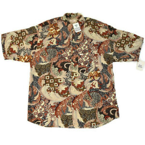 NWT Vintage Guess Georges Marciano Brown Tan Crazy Swirl Short Sleeve Shirt L