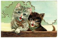 ~ Cute ~Cats Kittens with Bows~Antique~Embossed~ Greeting~Postcard-a591