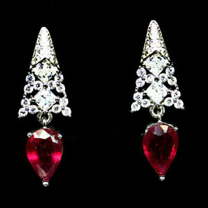 Earrings Pink Ruby Genuine Natural Gems Solid Sterling Silver