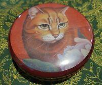 Vintage 1987 Orange Cat Metal Tin Hallmark Box Collector Cannister Container