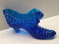 VINTAGE FENTON COBALT BLUE GLASS HOBNAIL VICTORIAN SHOE DISH