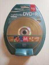 Memorex LightScribe DVD+R Recordable Discs 10 Pack 16x 4.7 GB 120 min Sealed New