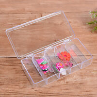 AU_ 5 Compartments Clear Rectangle Storage Box Case Hinged Lid Medicine Organize