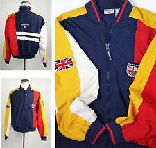 VTG Reebok Classic Racing Striped Jacket Med UK Flag Embroidered Men RARE!