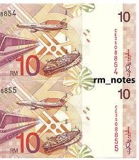 "MALAYSIA  RM10 x 2pcs R/N ALI HASSAN CENTRE Sign CE_3508854 ~ 855 ""UNC"""