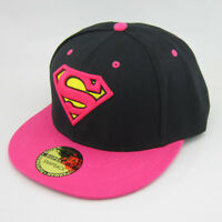 New Black Pink Superman hiphop Snapback Adjustable baseball cap flat hat Cosplay