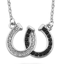 Silver Horse Shoe Pendant with Necklace Chain Horseshoe 926 Shoes UK SLR P12