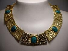 Vintage Signed Carlyle Egyptian Revival Gold Tone & Green Lucite Cab Necklace