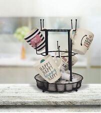 Mug Tree With Mesh Tray, Kitchen Metal Mugs Rack, Hooks, Tray Store Coffee Pods