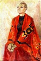 """Post-Soviet Expressionist oil canvas """"Woman in Red"""" 90x60 cm"""