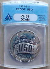 1991-S Uso Commemorative Proof Silver Dollar, Light Target Toned, Anacs Pr69Dcam