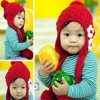 Girl's Cap Baby Winter Warm Hats Earflaps Thickening Crochet Knitted Lovely Hat