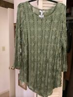 Attitudes by Renee Womens Floral Lace Tunic and Tank Plus 1X Olive Green NWT