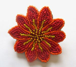 Spirit of Nature Hair Clip Seed Beads- flower shape- orange yellow red