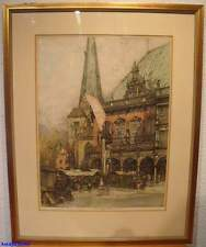 Luigi Kasimir, grandes colorierte aguafuerte Ayuntamiento de Bremen