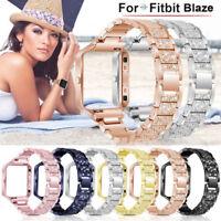 For Fitbit Blaze Stainless Steel Metal Frame Rhinestone Link Bracelet Band Strap