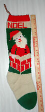 Personalized Hand Knit Christmas Stocking - Santa in The Chimney w/ Angora Beard