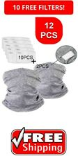 2Pcs Neck Gaiter Scarf Face Mask Headwear Headband with 10Pcs Carbon Filters