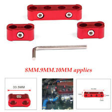 3Pcs Clips Red Aluminum Alloy Engine Spark Plug Wire Divider Organizer Clamp Kit