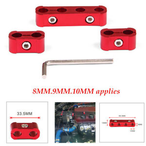 3PCS Clip Red Aluminum Alloy Engine Spark Plug Wire Divider Organizer Clamp Kit