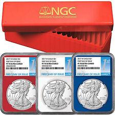 2017 W Silver American Eagle PF70 UC FDI Red, White & Blue Core NGC 1st Label