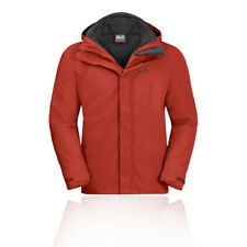 Jack Wolfskin Mens Three Peaks Jacket Top Red Sports Outdoors Full Zip Hooded
