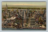 New York City NY, Aerial View Of Manhattan, Linen New York Postcard