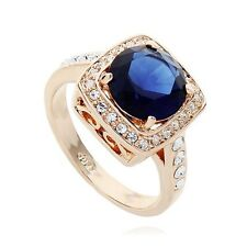 STUNNING LARGE ITALINA 18K GOLD PLATED SAPPHIRE BLUE AUSTRIAN CRYSTAL & CZ RING