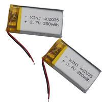 2 pcs Polymer Li ion Battery 3.7V 250 mAh 402035 for GPS Bluetooth headset pen