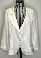 PER UNA MARKS AND SPENCER BRAND NEW LINEN WHITE FLORAL JACKET UK 18 RRP £35