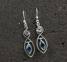 Marquise Blue Topaz Solid 925 Sterling Silver Daily Wear Dangle Earrings KE3483