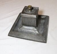 LARGE antique ornate 1800's thick zinc bronze desk pen desk writing inkwell tray