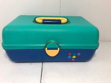 Vintagr Caboodles Organizer Makeup Train Case Model 2602 Blue Yellow Teal 1980s