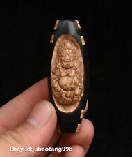 Tibet Old Agate Dzi Yellow Jambhala prayer Bead Exorcism Amulet Pendant necklace