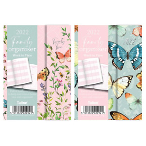 2022 A6 FAMILY ORGANISER WEEK TO VIEW MAGNETIC CLOSE BUTTERFLY HARDBACK PLANNER