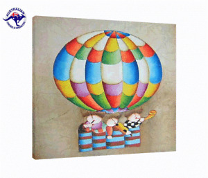 Oil Painting-Air Balloon Children Band Rolled in a Tube / Ready to Hang / Framed