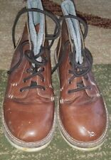 Boys Old Navy Faux Leather Lace Up Ankle Boots, Brown, Size 6