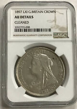 1897 LXI  GREAT BRITAIN SILVER CROWN  NGC AU DETAILS