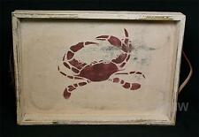 By the Cottage Door Hand-Crafted White Distressed Wood Crab Tray Leather Handles