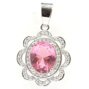 Fantastic Pink Morganite White CZ Woman's Party Silver Pendant