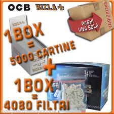 4080 Filtri OCB slim 6mm=1 BOX + 5000 Cartine RIZLA SILVER CORTE=1 box