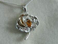 Clogau Silver & 9ct Welsh Gold Chrysanthemum Citrine & Topaz Pendant RRP £229.00